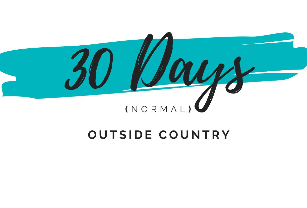 30 days normal outside country dubai visa