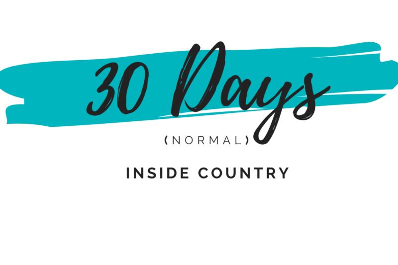 30 days normal inside country dubai visa